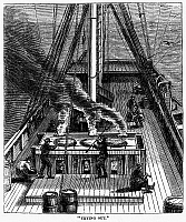 0032747 © Granger - Historical Picture ArchiveWHALING: TRYING OUT, 1874.   'Try-works' or boilers set in brick on the deck, are used to reduce the whale blubber to oil in the process called 'trying out.' Wood engraving, American, 1874.