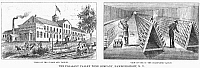 0078813 © Granger - Historical Picture ArchiveNEW YORK: WINERY, 1878.   Views of the Pleasant Valley Wine Company of Hammondsport, New York. Men at work in the champagne vaults are depicted in the right panel. Wood engraving from an American newspaper of 1878.