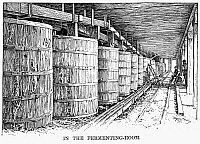 0101701 © Granger - Historical Picture ArchiveCALIFORNIA: WINERY, 1889.   The fermenting room at a California winery. Wood engraving, American, 1889.