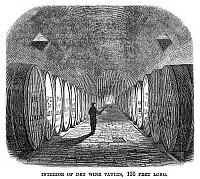 0266700 © Granger - Historical Picture ArchiveWINEMAKING: VAULT, 1866.   Interior of dry wine vaults with barrels of fermenting wine at the Longworth Winery in Ohio. Engraving, American, 1866.