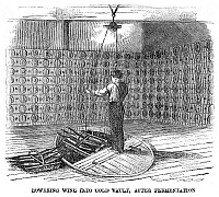 0266704 © Granger - Historical Picture ArchiveWINEMAKING: VAULT, 1866.   'Lowering wine into cold vault, after fermentation,' at the Longworth Winery in Ohio. Engraving, American, 1866.