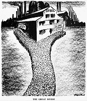 0078723 © Granger - Historical Picture ArchiveSTEEL UNIONS CARTOON, 1936.   'The Great Divide.' American cartoon comment, 1936, by D.R. Fitzpatrick on how the unionization of the giant steel industry served as the dividing wedge that split American Labor into two camps, the A.F. of L. and the C.I.O.