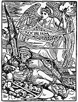 0106923 © Granger - Historical Picture ArchiveSOCIALIST ALLEGORY, 1885.   The angel of socialism approaching to rescue labor from being devoured by the vampire of capitalism. Pen-and-ink drawing, 1885, by Walter Crane.
