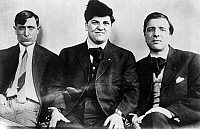 0268442 © Granger - Historical Picture ArchiveCARUSO, ETTOR, GIOVANNITTI.   Union organizers Joseph Caruso, Joseph J. Ettor, and Arturo Giovannitti, co-defendants in the trial for the murder of striker Anna LoPizzo during the 1912 Lawrence Textile Strike. Photograph, 1912.