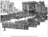 0006500 © Granger - Historical Picture ArchiveINDUSTRIAL PARADE, 1889.   School boys marching in the Industrial Parade in New York City held on 1 May 1889, as part of the centennial celebration of George Washington's first inauguration. Line engraving from a contemporary American newspaper.