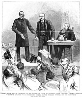0013985 © Granger - Historical Picture ArchiveKNIGHTS OF LABOR, 1886.   Machinist Frank J. Farrell, black delegate of District Assembly no. 49, introducing General Master Workman Terence V. Powderly to the tenth annual convention of the Knights of Labor in Richmond, Virginia. Wood engraving from an American newspaper of 1886.
