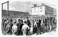 0036102 © Granger - Historical Picture ArchiveMOLLY MAGUIRES EXECUTIONS.   The execution of eleven Molly Maguires at Pottsville, Pennsylvania, 21 June 1877. Contemporary American wood engraving.