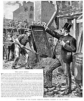 0078788 © Granger - Historical Picture ArchiveLABOR DESPOT, 1889.   'The Tyranny of the Walking Delegate. Ordering Workmen to