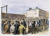 0105347 © Granger - Historical Picture ArchiveMOLLY MAGUIRES EXECUTIONS.   The execution of eleven Molly Maguires at Pottsville, Pennsylvania, 21 June 1877. Contemporary American wood engraving.