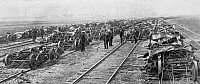 0000920 © Granger - Historical Picture ArchivePULLMAN STRIKE, 1894.   Examining the wreckage of burned freight cars at a Chicago, Illinois, railway yard at the time of the Pullman strike, 1894.