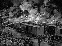 0036298 © Granger - Historical Picture ArchivePULLMAN STRIKE, 1894.   Six hundred freight cars at the Panhandle yards, Chicago, set afire by rioting workers during the Pullman strike on the evening of July 6, 1894. Illustration from a contemporary American newspaper.