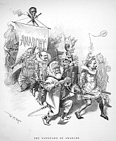 0036299 © Granger - Historical Picture ArchivePULLMAN STRIKE CARTOON.   'The Vanguard of Anarchy.' Cartoon by W.A. Rogers, July 1894, potraying Eugene V. Debs, Governor Atlgeld of Illinois, Governor Wait of Colorado, and Senator William Alfred Peffer of Kansas, as fools and clowns.