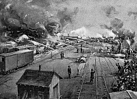 0037227 © Granger - Historical Picture ArchivePULLMAN STRIKE, 1894.   Freight cars burning at the Illinois Central Railroad yards in Kensington, near Chicago, after being set afire by rioting workers during the Pullman strike, 6 July 1894. Illustration from a contemporary American newspaper.