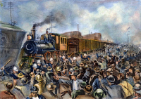 0037230 © Granger - Historical Picture ArchivePULLMAN STRIKE, 1894.   Chicago police trying to quell a mob of rioting workers to allow a train to pass on the tracks near Forty-Third Street, during the Pullman strike, July 1894. Illustration from a contemporary American newspaper.