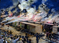 0083378 © Granger - Historical Picture ArchivePULLMAN STRIKE, 1894.   Six hundred freight cars at the Panhandle yards, Chicago, set afire by rioting workers during the Pullman strike on the evening of 6 July 1894. Illustration from a contemporary American newspaper.