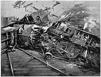 0323731 © Granger - Historical Picture ArchivePULLMAN STRIKE, 1894.   Crash staged by Pullman Company strikers, who drove a switch engine (without an engineer) at full speed into wrecked freight cars in Chicago, 6 July 1894. Illustration from a contemporary American newspaper.