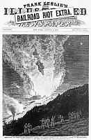 0087084 © Granger - Historical Picture ArchiveGREAT RAILROAD STRIKE, 1877.   A mob burning train cars and railroad property at the Round House, near Pittburgh, Pennsylvania, on the 21 July 1877. Wood engraving from an American newspaper of 1877.