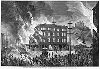 0087116 © Granger - Historical Picture ArchiveGREAT RAILROAD STRIKE, 1877.   Destruction of the Union Depot and Hotel at Pittsburgh, Pennsylvania, during the Great Railroad Strike, 21-22 July 1877. Contemporary American wood engraving.