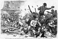 0087118 © Granger - Historical Picture ArchiveGREAT RAILROAD STRIKE, 1877.   The Sixth Maryland miltia firing into a hostile crowd and killing 12 in Baltimore on July 20 at the beginning of the Great Railroad Strike of 1877. Wood engraving from a contemporary American newspaper.