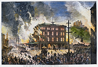 0105351 © Granger - Historical Picture ArchiveGREAT RAILROAD STRIKE, 1877.   Destruction of the Union Depot and Hotel at Pittsburgh, Pennsylvania, during the Great Railroad Strike, 21-22 July 1877. Contemporary American wood engraving.