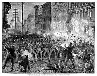 0268022 © Granger - Historical Picture ArchiveGREAT RAILROAD STRIKE, 1877.   The Sixth Maryland Regiment fighting back rioting railroad strikers in Baltimore during the Great Railroad Strike of 1877. Contemporary English engraving.