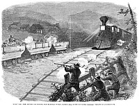 0265754 © Granger - Historical Picture ArchiveMINERS' WAR, 1874.   Fight between two factions of miners, near Macdonald Station on the Panhandle Railroad in Pennsylvania, October 1874. Contemporary American engraving.