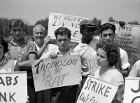 0326495 © Granger - Historical Picture ArchiveFARM STRIKE, 1938.   The picket line at the King Farm strike in Morrisville, Pennsylvania. Photograph by John Vachon, August 1938.