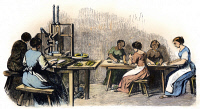0066755 © Granger - Historical Picture ArchiveGERMAN WOMEN WORKERS.   Women workers in a German tobacco factory. Wood engraving, German, c1840.