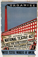 0007241 © Granger - Historical Picture ArchiveLABOR POSTER, 1935.   'We Demand the National Textile Act.' Unpublished poster, 1935, by Ben Shahn, of which only a single copy is believed to have been produced.