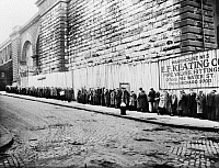 0106187 © Granger - Historical Picture ArchiveNEW YORK CITY: BREAD LINE.   Unemployed workers in a New York City bread line beside the Brooklyn Bridge approach. Photograph, c1930-1935.