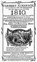 0101582 © Granger - Historical Picture ArchiveFARMER'S ALMANAC, 1810.   Front cover for the Farmer's Almanac for the year 1810, by Robert B. Thomas. Printed at Boston by John West & Co.