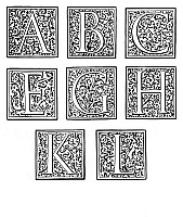 0005101 © Granger - Historical Picture ArchiveDECORATIVE INITIALS, c1600.   Decorative woodcut initials, c1600, similar to those used by Christophe Plantin and Adam Berg.