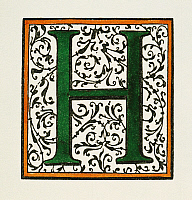 0031943 © Granger - Historical Picture ArchiveINITIAL 'H', c1600.   Decorative initial 'H' in a style similar to those initials used by Christophe Plantin and Adam Berg. Woodcut, c1600.
