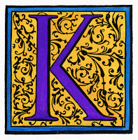 0045986 © Granger - Historical Picture ArchiveINITIAL 'K', c1600.   Decorative initial 'K' in a style similar to those initials used by Christophe Plantin and Adam Berg. Woodcut, c1600.