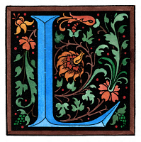 0046591 © Granger - Historical Picture ArchiveGERMAN INITIAL 'L'.   Initial 'L' from a late 19th century German revival of Florentine Renaissance initials.