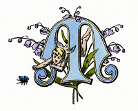 0046946 © Granger - Historical Picture ArchiveINITIAL 'M', c1889.   A decorative Gothic initial 'M,' with a cherub reaching for a butterfly, c1889.