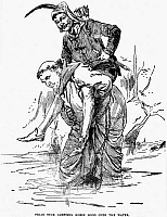 0002872 © Granger - Historical Picture ArchiveROBIN HOOD.   Friar Tuck carrying Robin Hood over the water. Illustration from a late 19th century American juvenile edition.
