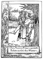 0003372 © Granger - Historical Picture ArchiveROBIN HOOD.   Friar Tuck carries Robin Hood across a river. Pen and ink drawing by Howard Pyle from 'The Merry Adventures of Robin Hood,' 1883.