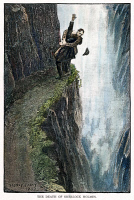 0007517 © Granger - Historical Picture ArchiveDOYLE: SHERLOCK HOLMES, 1893. Sherlock Holmes and Professor Moriarty locked in mortal combat at the Reichenbach Falls. Engraving after a drawing by Sidney Paget for Sir Arthur Conan Doyle's 'The Adventure of the Final Problem,' 1893.