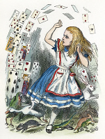 0007854 © Granger - Historical Picture ArchiveALICE IN WONDERLAND, 1865.  'Who cares for you?' said Alice (she had grown to her full size by this time). 'You're nothing but a pack of cards!'. Illustration by Sir John Tenniel from the first edition of Lewis Carroll's 'Alice's Adventures in Wonderland,' 1865.