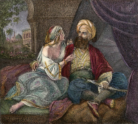 0008567 © Granger - Historical Picture ArchiveARABIAN NIGHTS.   Scheherazade amusing the Sultan Schahriah and prolonging her life with the tales for a thousand and one nights. Colored engraving, 19th century.