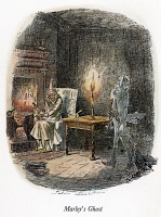 0009285 © Granger - Historical Picture ArchiveDICKENS: CHRISTMAS CAROL, 1843. 'Marley's Ghost.' Etching by John Leech from the first edition of Charles Dickens' 'A Christmas Carol,' 1843.