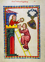 0010756 © Granger - Historical Picture ArchiveHEIDELBERG LIEDER.   The minnesinger Graf Kraft von Toggenburg in an illumination from the early 14th century great Heidelberg Lieder manuscript.