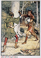 0010997 © Granger - Historical Picture ArchiveGILBERT: ROBIN HOOD.   Robin Hood battling Guy of Gisborne. Illustration by Walter Crane for 'Robin Hood & the Men of the Greenwood,' 1912, by Henry Gilbert.