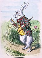 0010998 © Granger - Historical Picture ArchiveCARROLL: ALICE, 1865.   'Oh dear! Oh dear! I shall be too late!' (The White Rabbit takes a watch out of his waistcoat-pocket). Illustration by John Tenniel from the first edition, 1865, of Lewis Carroll's 'Alice's Adventures in Wonderland.'