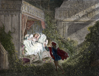 0011019 © Granger - Historical Picture ArchivePERRAULT: SLEEPING BEAUTY.   The prince discovering Sleeping Beauty. Colored engraving from an 1867 edition of the Perrault fairy tale illustrated after Gustave Doré.