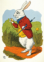 0011374 © Granger - Historical Picture ArchiveCARROLL: WHITE RABBIT 1865.   The White Rabbit observing that he shall be too late: colored wood engraving after the design by Sir John Tenniel for the first edition, 1865, of Lewis Carroll's Alice's Adventures in Wonderland.