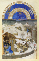0011818 © Granger - Historical Picture ArchiveBOOK OF HOURS: FEBRUARY.   Keeping warm by a farm fireside in February. Illumination from the 15th century manuscript of the 'Tres Riches Heures,' of Jean, Duke of Berry.