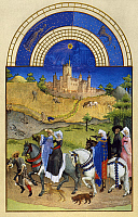 0011825 © Granger - Historical Picture ArchiveBOOK OF HOURS: AUGUST.   A hawking party in August: illumination from the 15th century manuscript of the