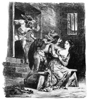 0012590 © Granger - Historical Picture ArchiveGOETHE: DOCTOR FAUST.   Illustration to the dungeon scene in Johann Wolfgang von Goethe's 'Faust,' with Mephistopheles, Faust and Margaret. Lithograph, 1828, by Eugene Delacroix.